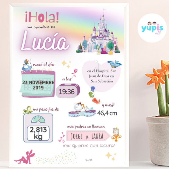 Lámina de nacimiento personalizada Princesas